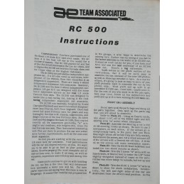 Vintage ASSOCIATED RC500 4WD - Instructions